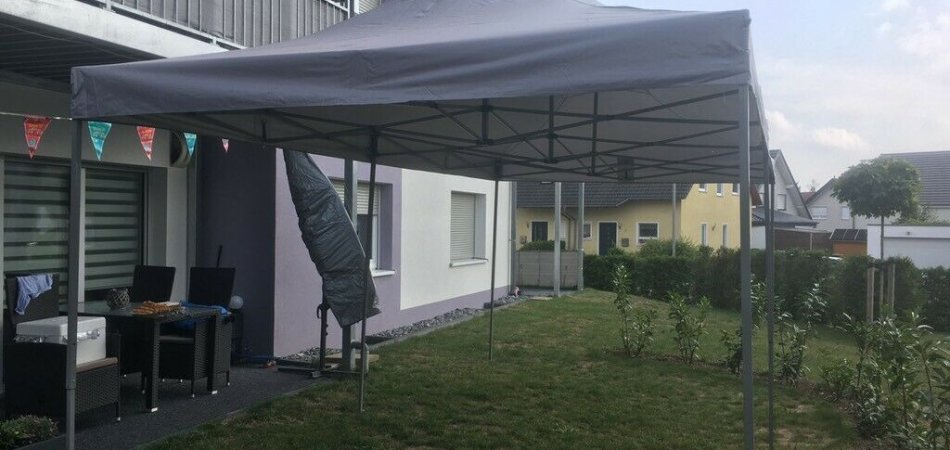 Faltpavillon / Zelt in Grau mit Seitenteile mieten